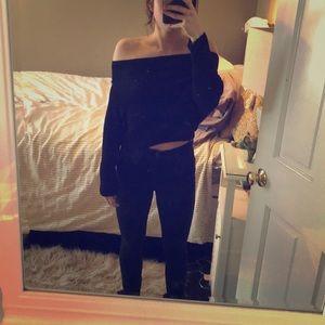Black off the shoulder sweater